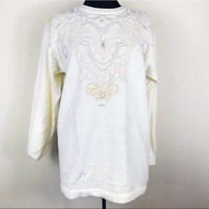 Vintage Ivory Beaded Pearl & Sequin Sweater